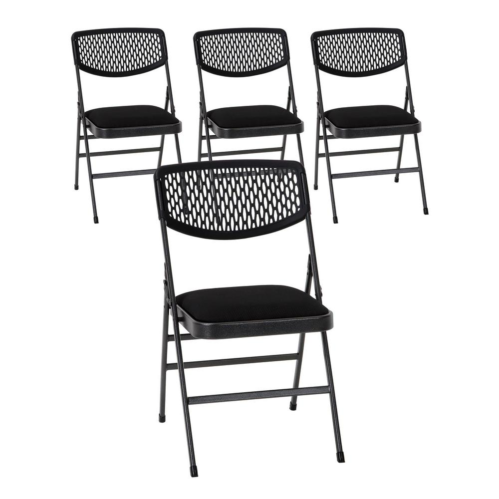 Cosco Commercial Black Metal Hammertone Folding Chair With Fabric Padded  Seat And Resin Mesh Back (