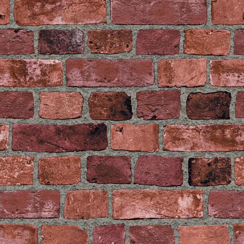 The Wallpaper Company 8 in. x 10 in. Red Brick Wallpaper Sample