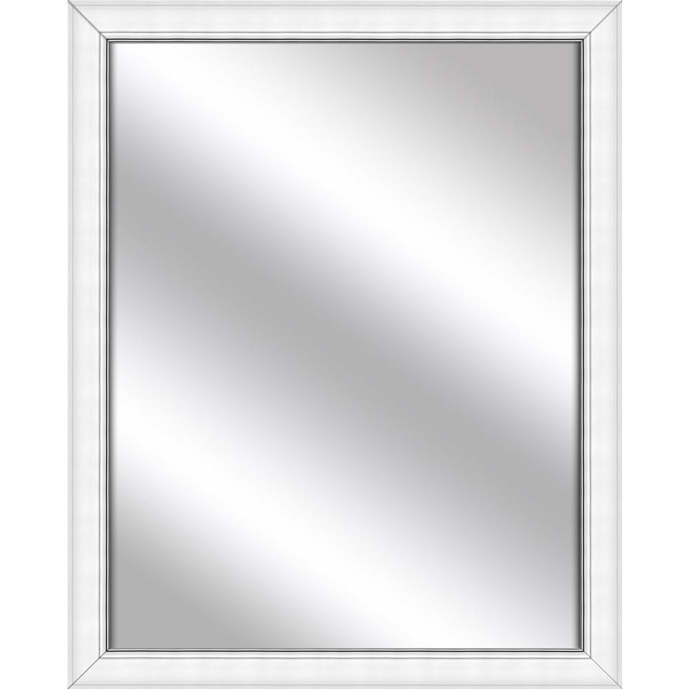 Medium Rectangle White Art Deco Mirror (30.875 in. H x 24.875 in. W)