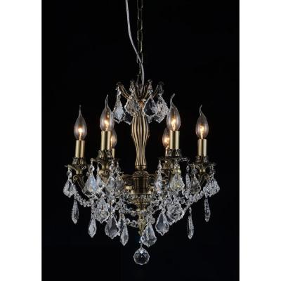 Brass 6-Light Antique Brass Chandelier