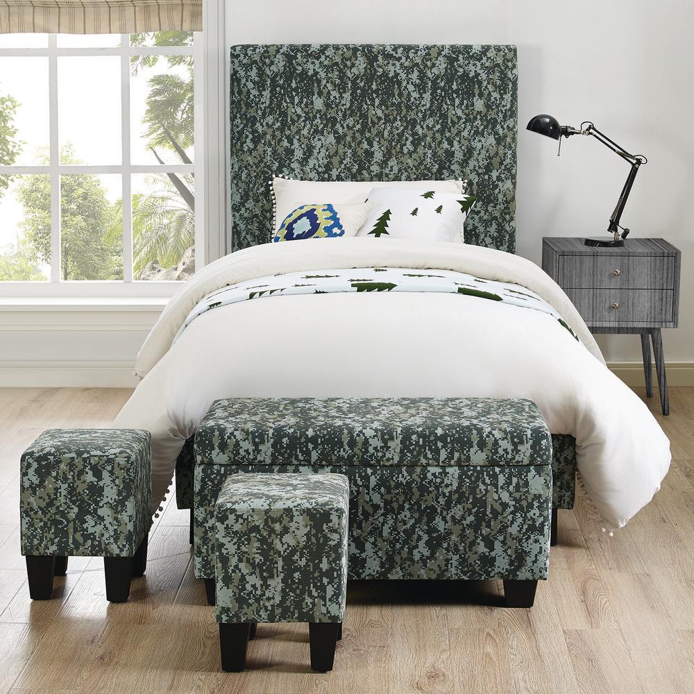 Jett Upholstered Platform Green Bed with Ottoman Set