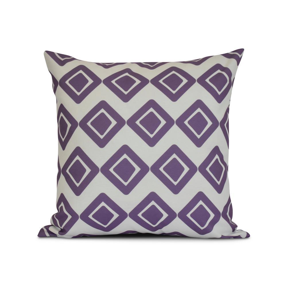 16 in. Purple Diamond Jive 1 Geometric Print Pillow