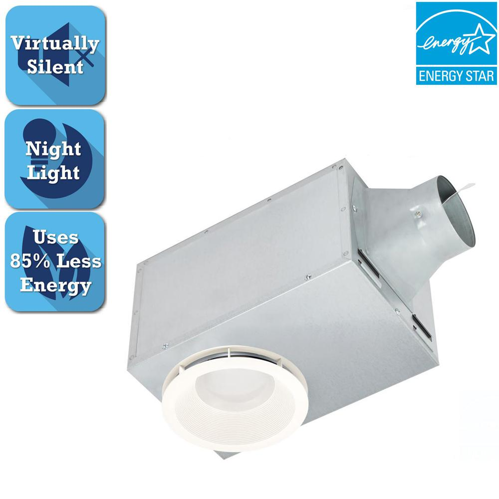 Delta breez 80 cfm recessed ceiling bathroom exhaust fan with led light and nightlight rec80led for Bathroom exhaust fan with led light