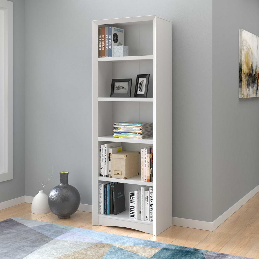 Quadra 71 in. Tall White Faux Woodgrain Bookcase