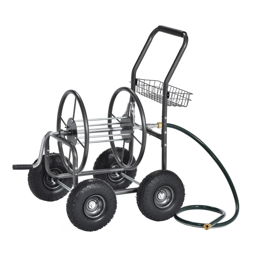 Muscle Carts 400 ft. Capacity Outdoor Water Hose Reel Cart with Steel Mesh Basket