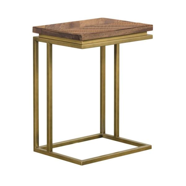 Faye Rustic Brown Wood 24 in. H C-Shape End table with Antique Brass Base