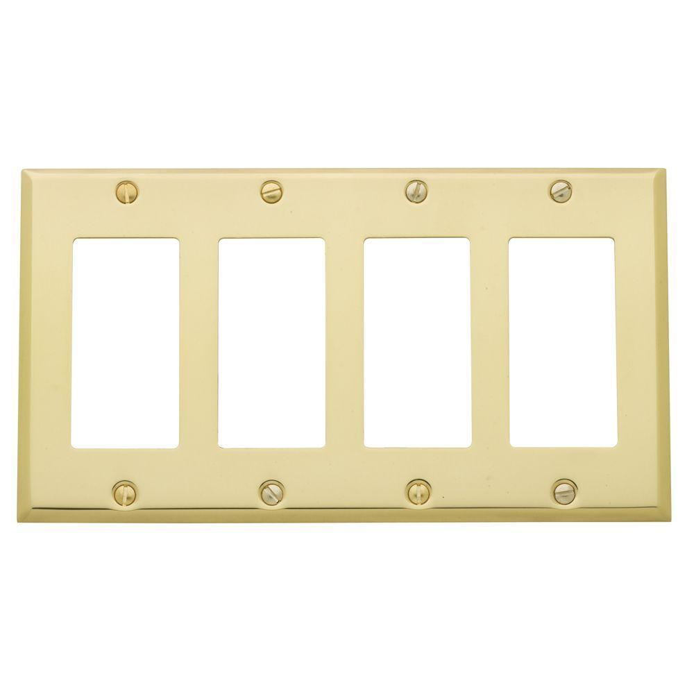 Baldwin Beveled Edge 4 GFCI Wall Plate - Polished Brass-4742.030.CD ...