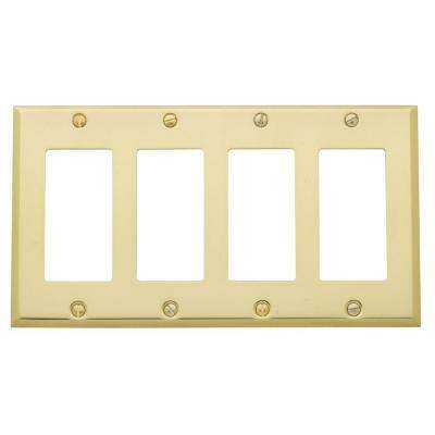 Beveled Edge 4 GFCI Wall Plate - Polished Brass
