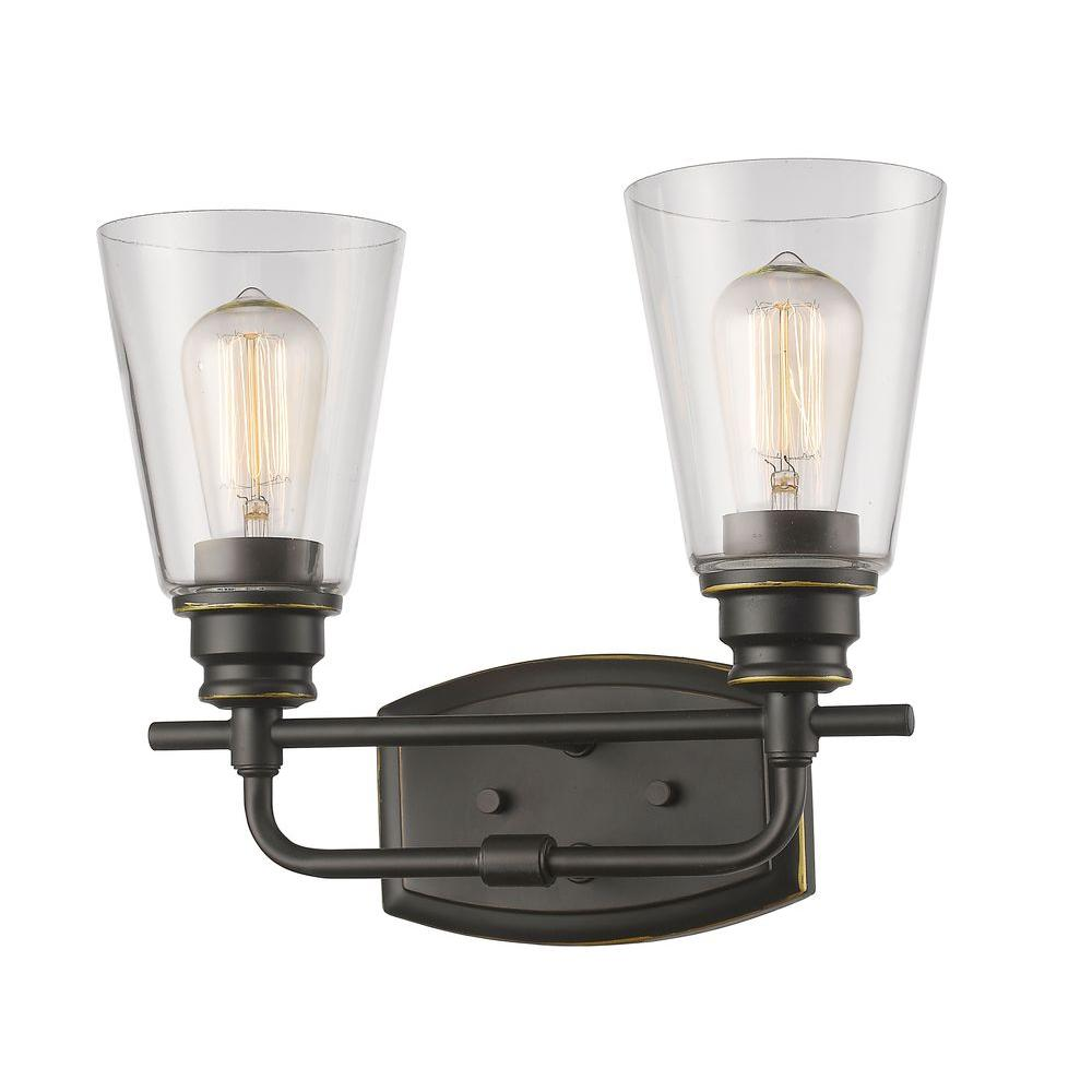 Nina 2-Light Olde Bronze Bath Vanity Light