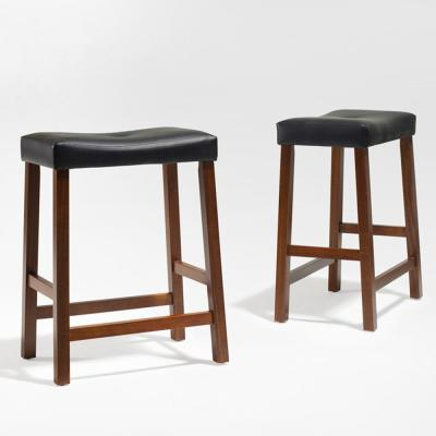 Crosley 24 in. Cherry Upholstered Saddle Seat Bar Stool With Black Cushions (Set Of Two)