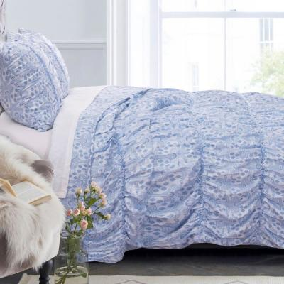 Helena Ruffle 3-Piece Blue Full/Queen Quilt Set