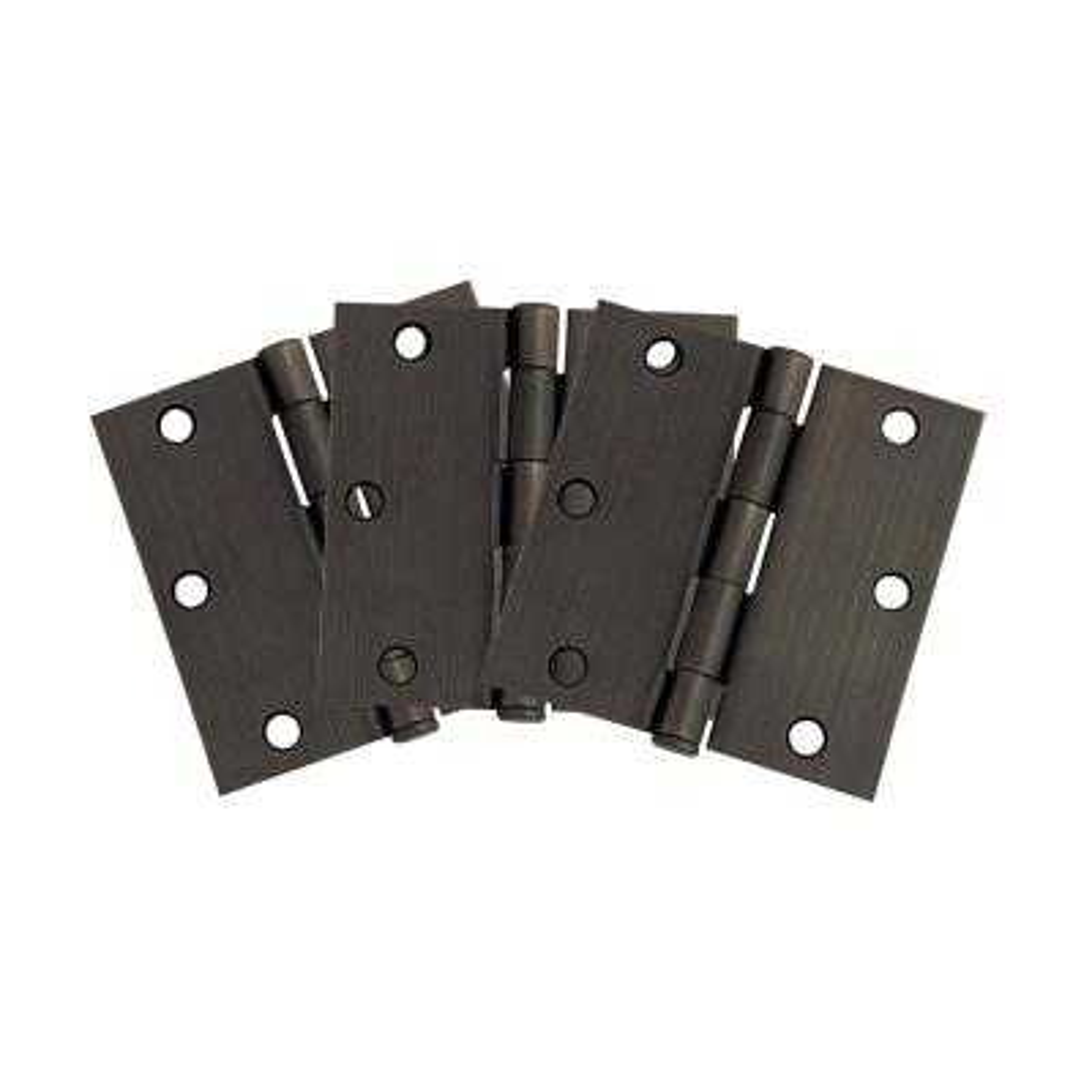3-1/2 in. Square Corner Oil Rubbed Bronze Door Hinge Value Pack (3 per Pack)