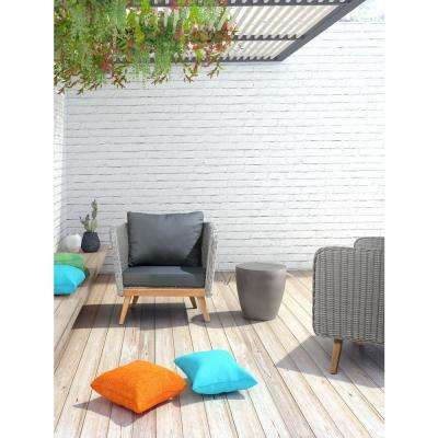 Dad Patio Poly-Cement Ottoman in Gray