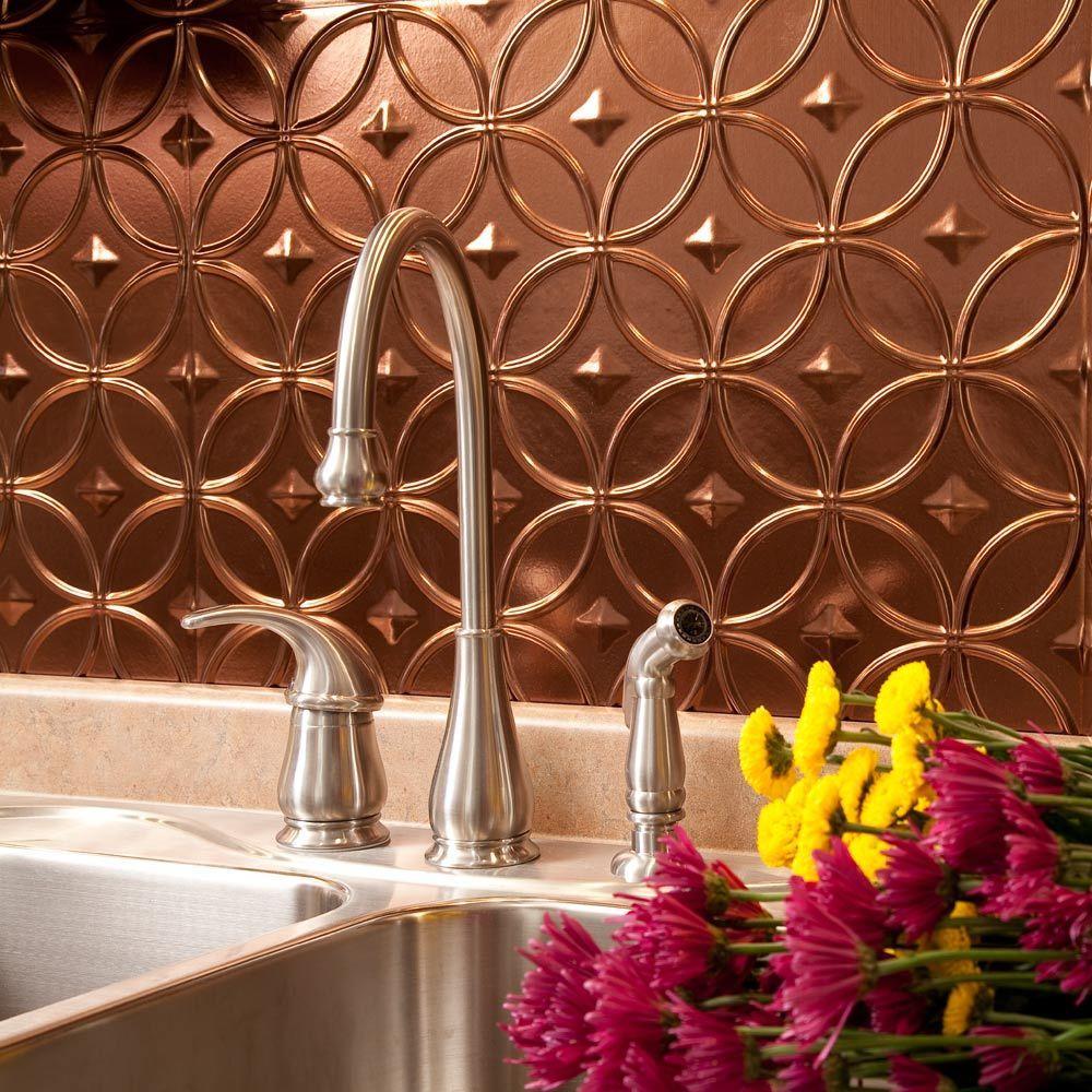 24 in. x 18 in. Rings PVC Decorative Backsplash Panel in Oil Rubbed Bronze