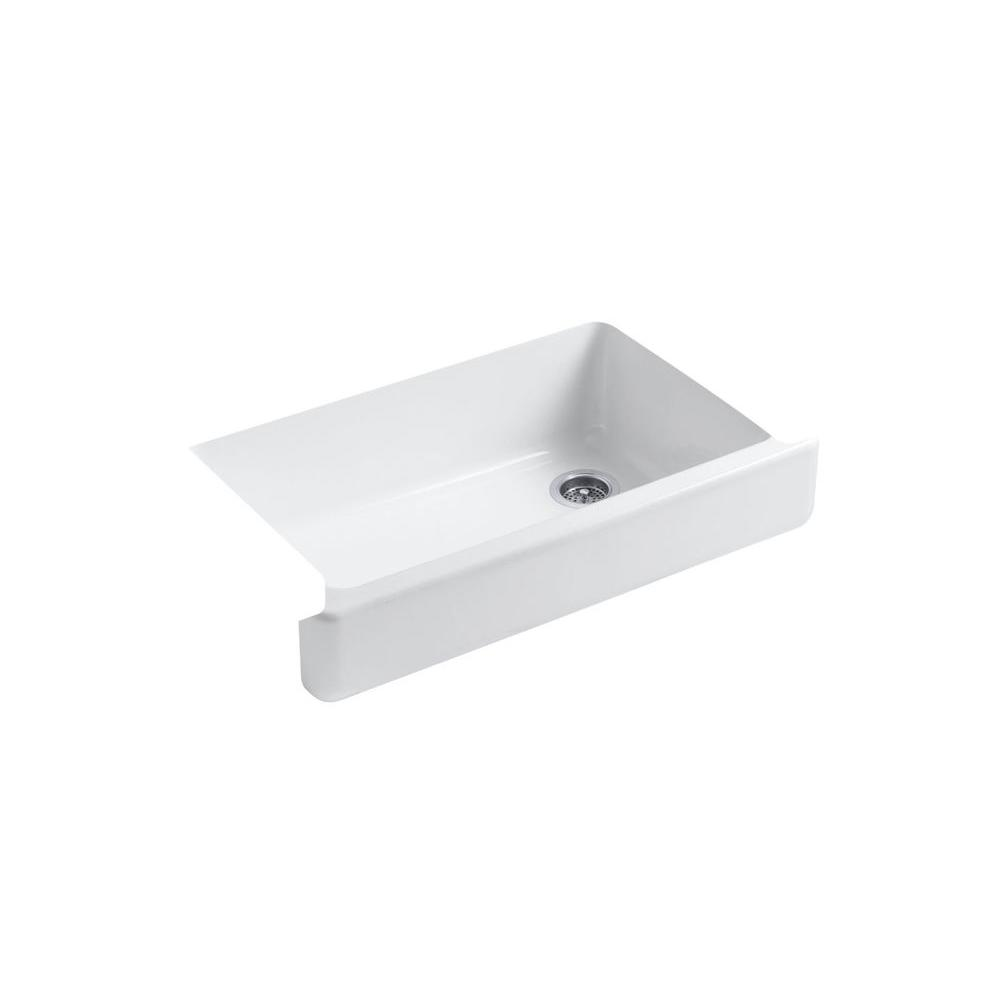 kohler whitehaven farmhouse apron front cast iron 36 in single basin kitchen sink in white with basin racks k 6488 0 6639 st the home depot - Kohler Sple Dienstprogramm Rack