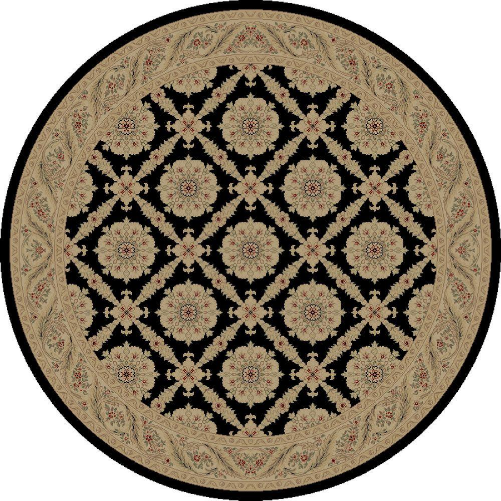 Imperial Aubosson Black 5 ft. 3 in. Round Area Rug