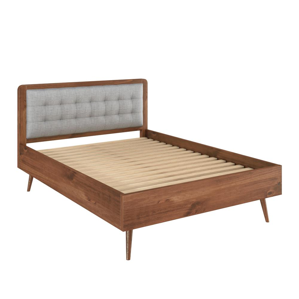 Solid pine wood in varnish and grey tufted queen size bed frame with headboard