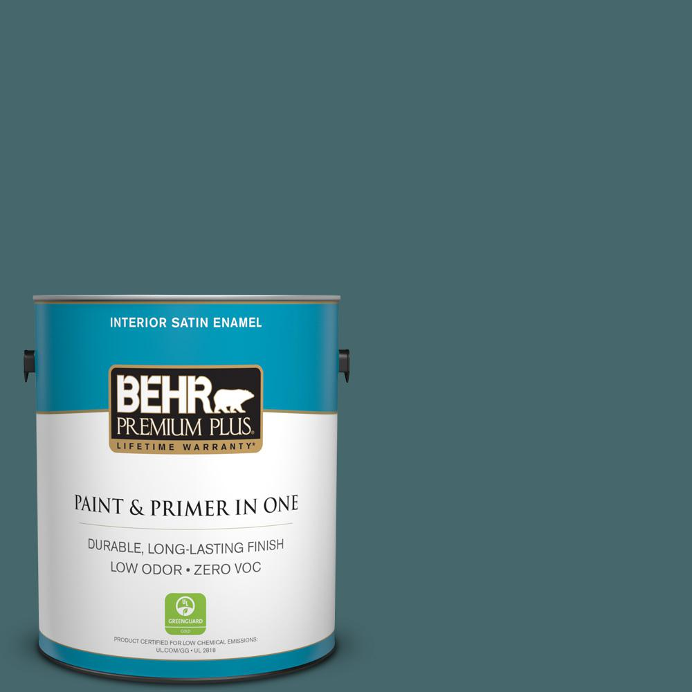 BEHR Premium Plus 1-gal. #500F-7 Mythic Forest Zero VOC Satin Enamel Interior Paint