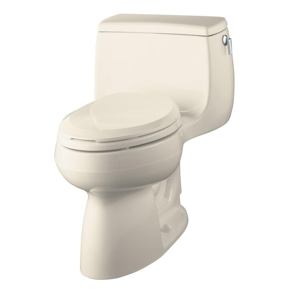KOHLER Gabrielle Comfort Height 1-Piece 1.4 GPF Elongated Toilet in Almond-DISCONTINUED