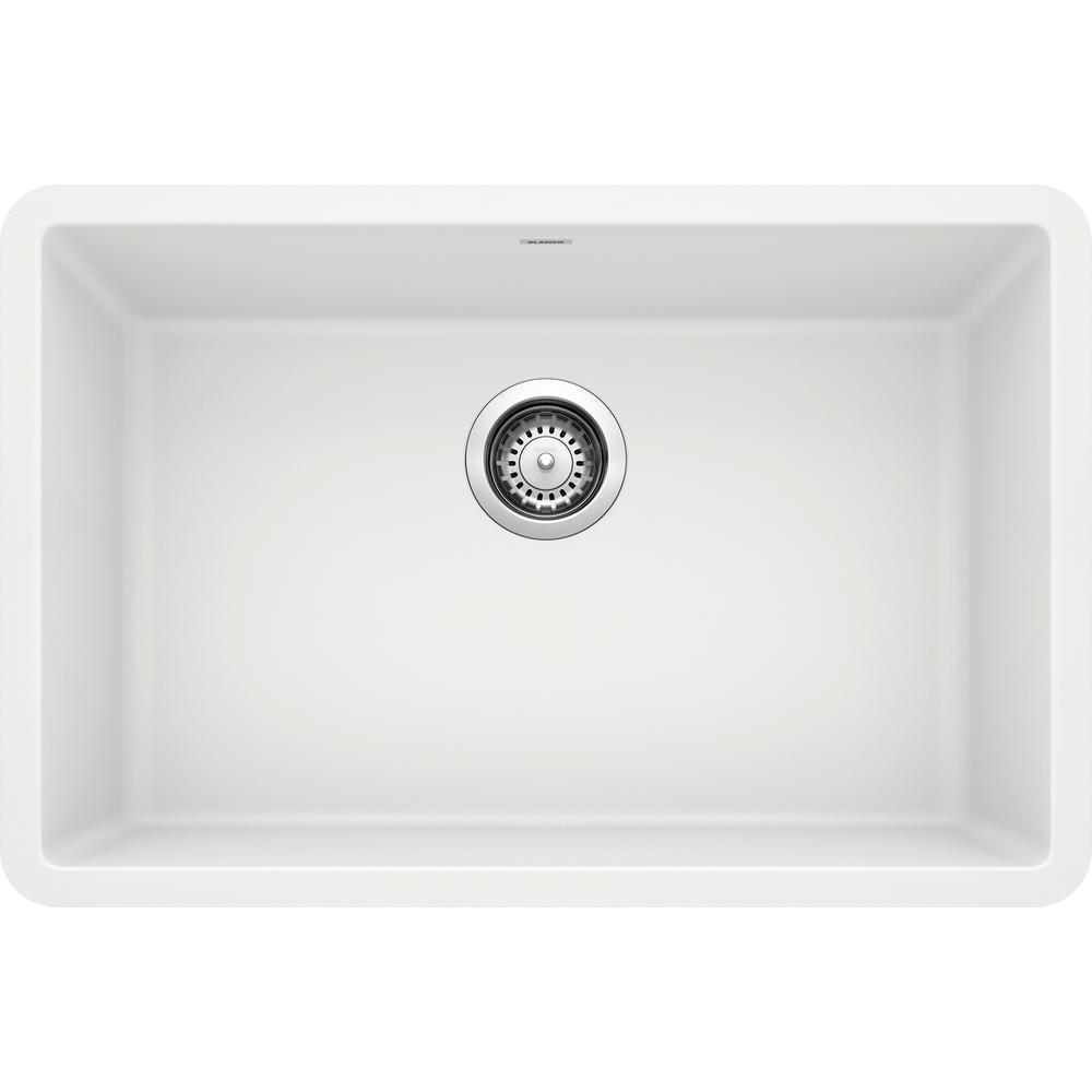 PRECIS Undermount Granite Composite 27 in. Single Bowl Kitchen Sink in White