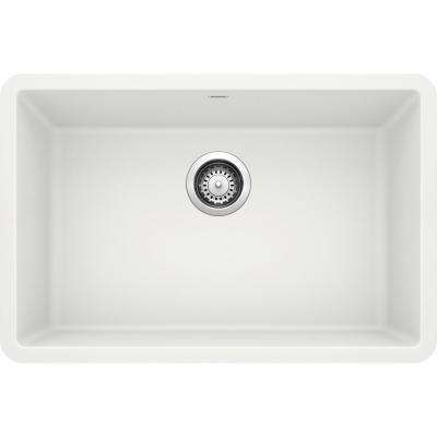 PRECIS Undermount Granite Composite 27 in. Single Bowl Kitchen Sink in White