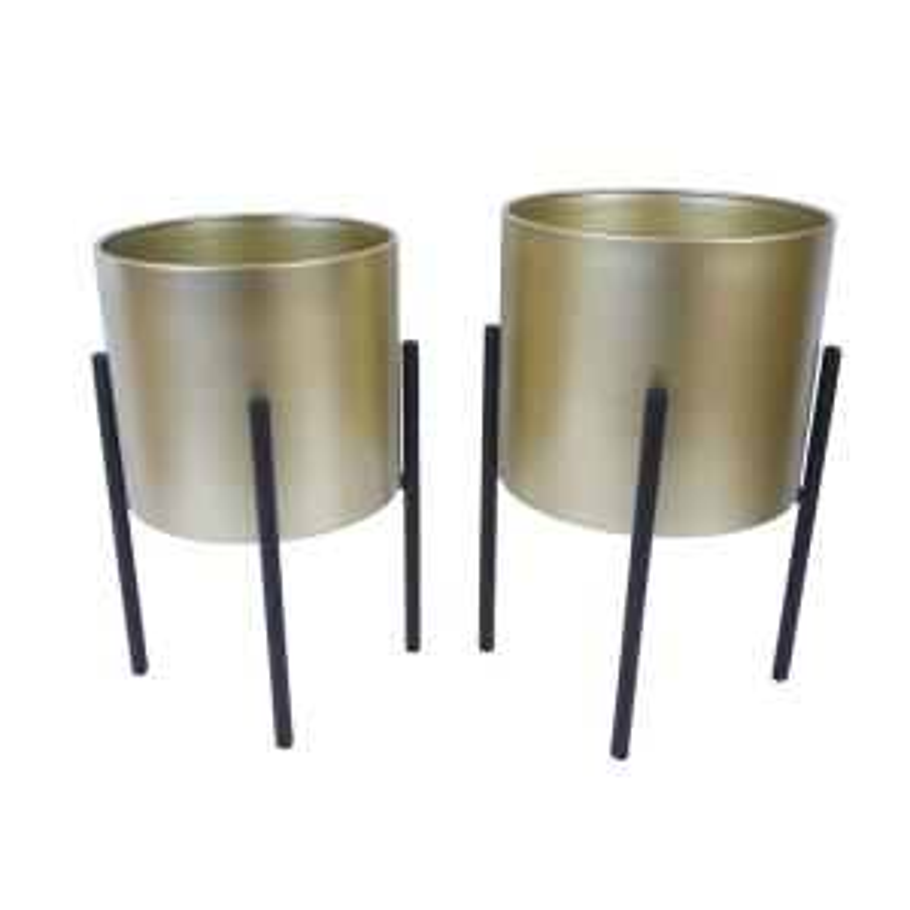 Black Gold Cylinder Plant Pot, Mid Century Flower Pot Holder Stand Indoor Display Rack, Set of 2
