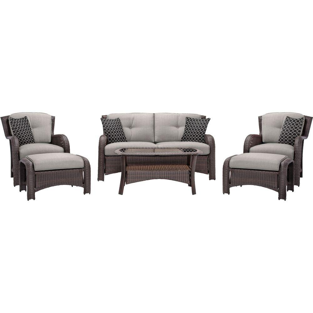 Strathmere 6-Piece All-Weather Wicker Patio Deep Seating Set with Silver Lining