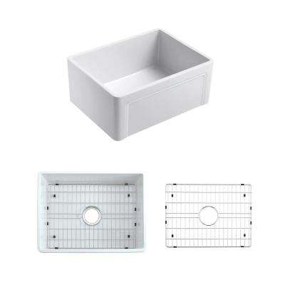 Olde London Reversible Fluted Front Farmhouse Fireclay 24 in. Single Bowl Kitchen Sink with Grid