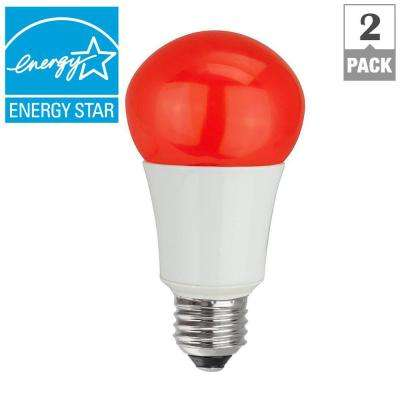 40W Equivalent A15 Household LED Light Bulbs, Red (2-Pack)