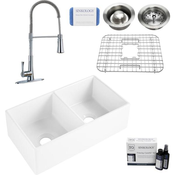 Brooks II All-in-One Farmhouse/Apron-Fireclay 33 in. 50/50 Double Bowl Kitchen Sink with Pfister Zuri Faucet and Drains