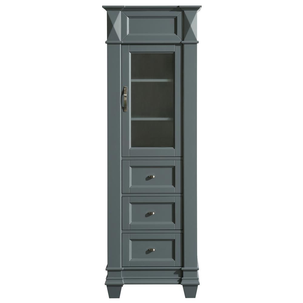 Hudson 22 in. W x 65 in. H x 13.5 in. D Bathroom Linen Storage Cabinet in Gray