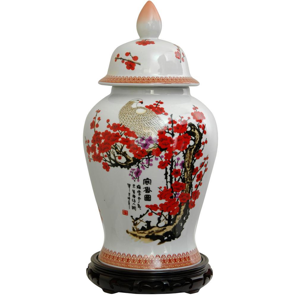Oriental Furniture 18 in. Porcelain Decorative Vase in White