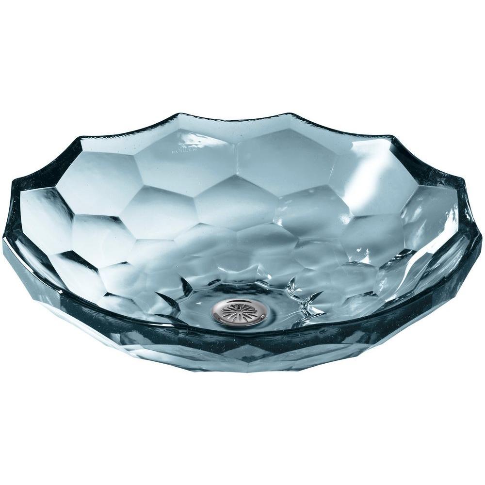 KOHLER Briolette Glass Vessel Sink in Translucent Dusk