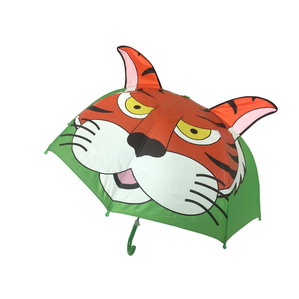 Kingstate 38 in. Arc Childrens Animal Head Umbrella in Tiger