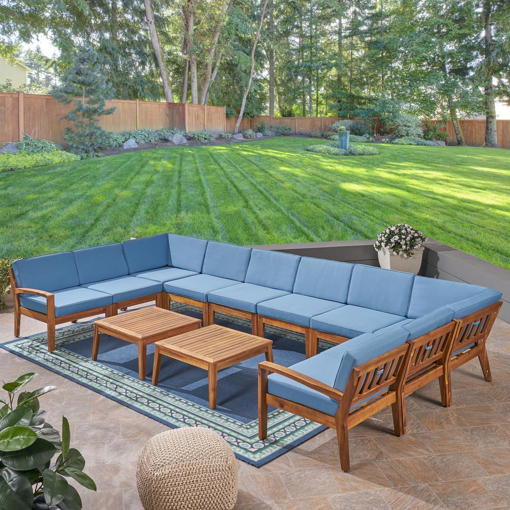 Grenada Teak Brown 12-Piece Wood Patio Conversation Set with Blue Cushions