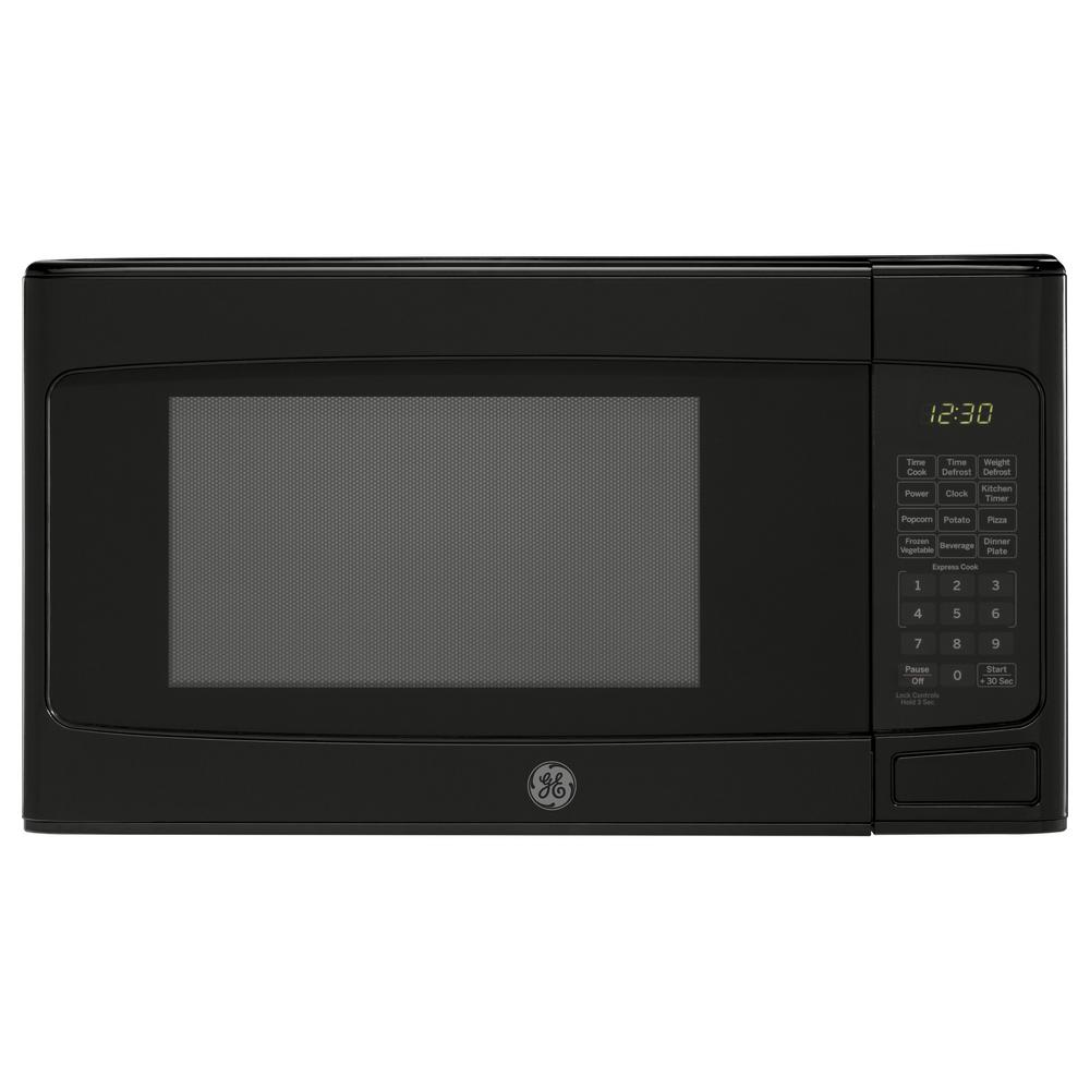 GE 1.1 cu. ft. Countertop Microwave in Black GE appliances provide up-to-date technology and exceptional quality to simplify the way you live. With a timeless appearance, this family of appliances is ideal for your family. And, coming from one of the most trusted names in America, you know that this entire selection of appliances is as advanced as it is practical. Color: Black.