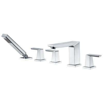 Mint Series 3-Handle Deck Mounted Roman Tub Faucet with Handheld Sprayer in Polished Chrome