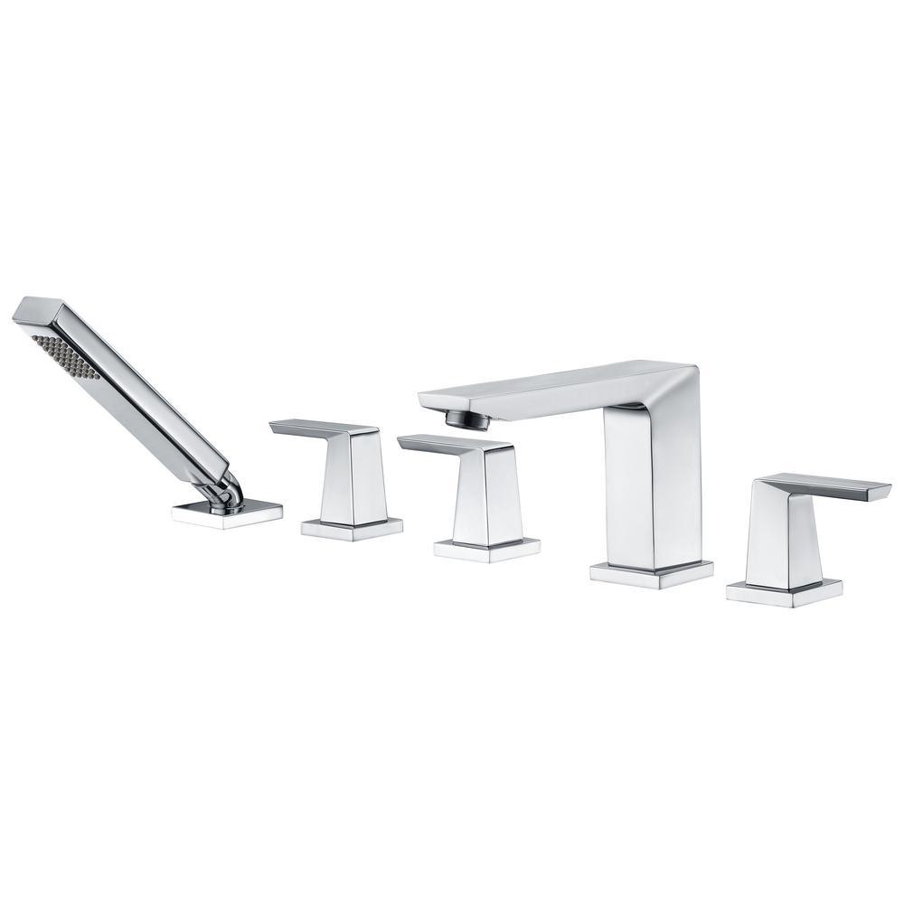 Pull out sprayer roman tub faucets bathtub faucets the home depot mint series 3 handle deck mounted roman tub faucet with handheld sprayer in polished chrome publicscrutiny Images
