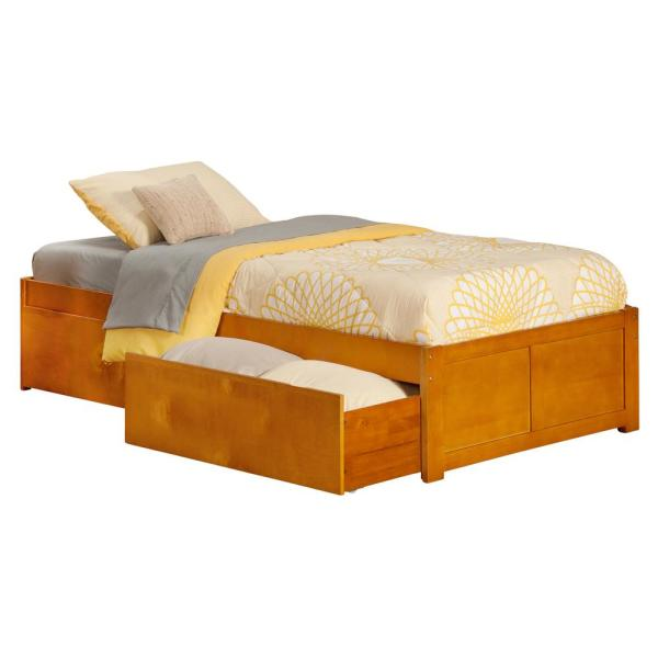 Atlantic Furniture Concord Caramel Twin Xl Platform Bed With Flat Panel Foot Board And 2