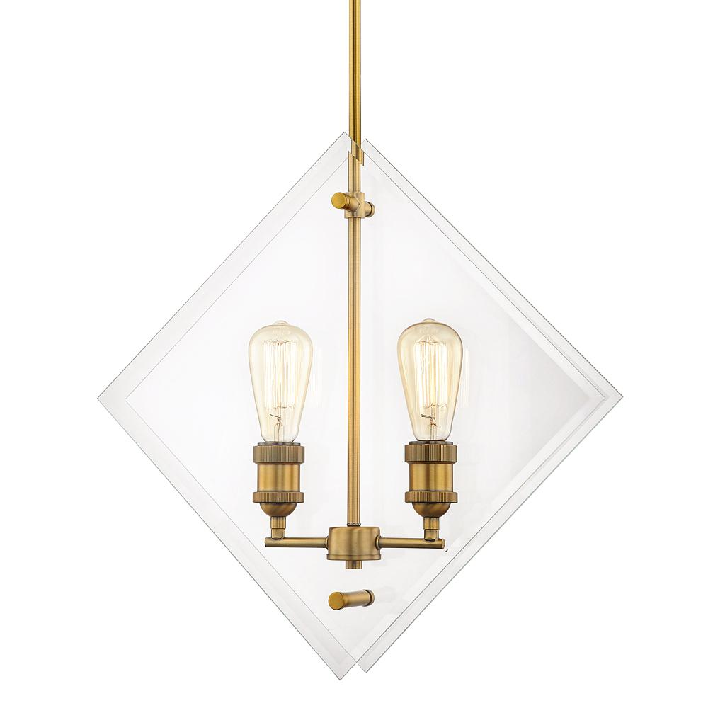 Home Decorators Collection 20 in. 2-Light Aged Brass Pendant Beveled Glass Panels Vintage Bulbs Included