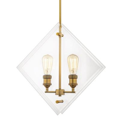 20 in. 2-Light Aged Brass Pendant Beveled Glass Panels Vintage Bulbs Included
