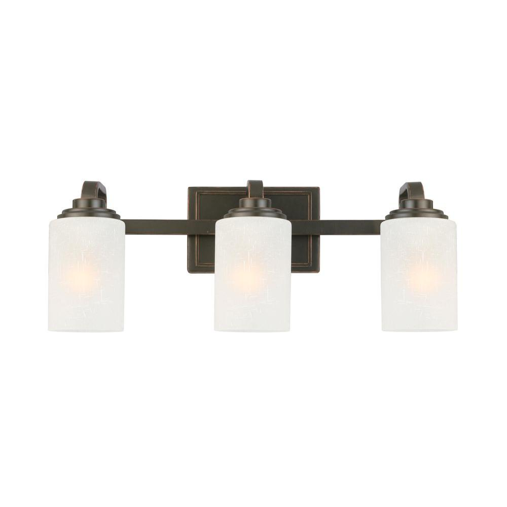 Bathroom vanity lighting fixtures - Hampton Bay 3 Light Oil Rubbed Bronze Vanity Light With Frosted Patterned Glass Shade