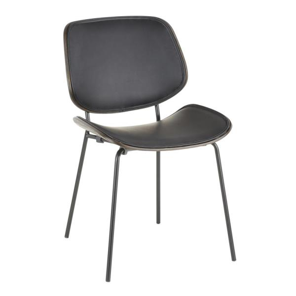 Industrial Black Faux Leather and Black Metal Lombardi Chair
