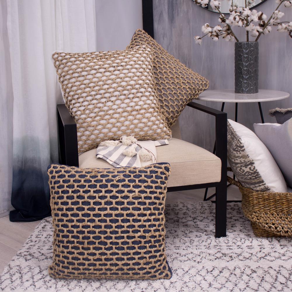 Jada Indigo Geometric Polyester 20 in. x 20 in. Throw Pillow