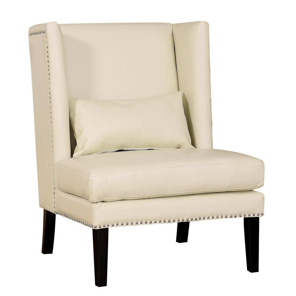 Tov Furniture Chelsea Cream Leather Wing Chair