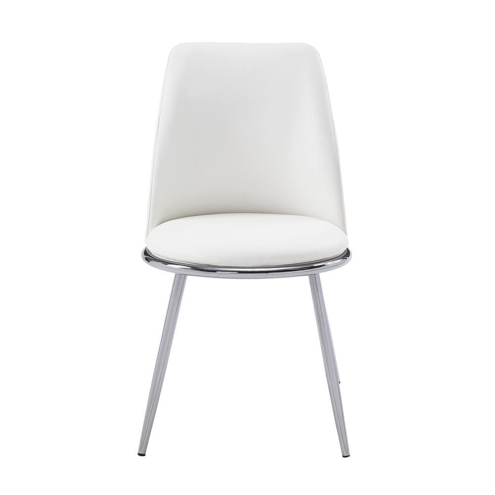 White PU and Chrome Chara Side Chair (Set of 2)