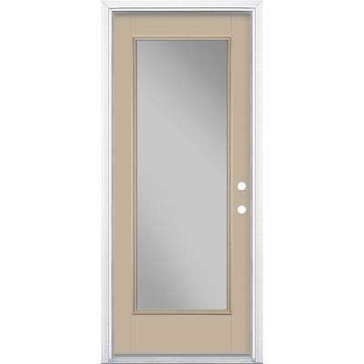 32 in. x 80 in. Full Lite Canyon View Left Hand Inswing Painted Smooth Fiberglass Prehung Front Door w/ Brickmold