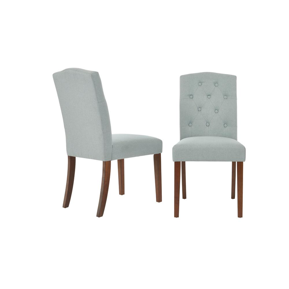 Beckridge Walnut Wood Upholstered Dining Chair with Light Blue Seat (Set of 2) (18.11 in. W x 37.4 in. H)