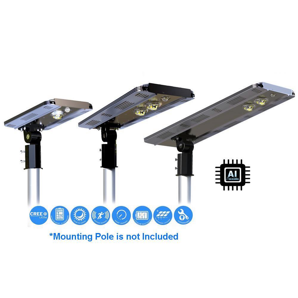 Solar Power AI SMART 1600 Lumens Brown Motion Sensing Outdoor Integrated CREE LED Street Area Light