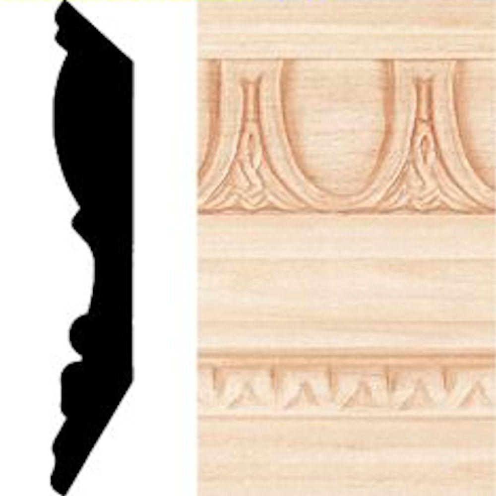 null 13/16 in. x 4-1/2 in. x 8 ft. Hardwood Emboss Crown Moulding